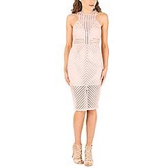 Izabel London - Pink mesh stripe bodycon dress