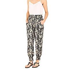 Izabel London - Multicoloured tropical printed harem trousers
