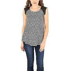 Izabel London - Black polyester sleeveless multi coloured zig