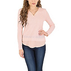 Izabel London - Light pink long sleeve plain top