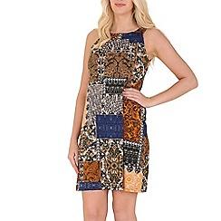 Izabel London - Orange patch work print dress