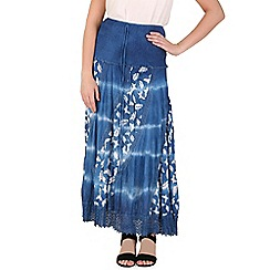 Izabel London - Navy multi coloured long skirt