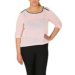 Samya - Pink striped leather trim top