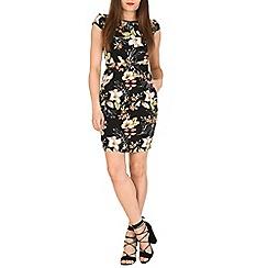 Voulez Vous - Black pleats & pockets flower & leaf dress