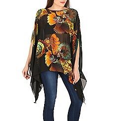 Voulez Vous - Black floral print batwing top