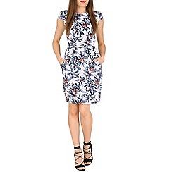 Voulez Vous - Blue floral pleat tie back dress