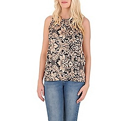 Izabel London - Peach abstract floral print top
