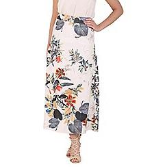 Izabel London - White tropical flower midi skirt