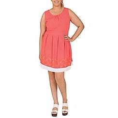 Samya - Peach contrast lace skater dress