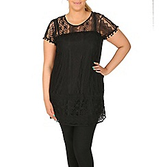 Samya - Black pom pom trim tunic top