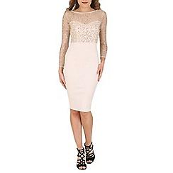 AX Paris - Cream embellished top bodycon dress