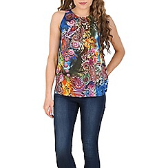 Izabel London - Blue paisley & flower top