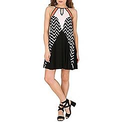 Izabel London - Black strap multi pattern dress