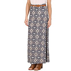 Izabel London - Navy print maxi skirt with belt