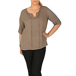Samya - Khaki crepe panel top