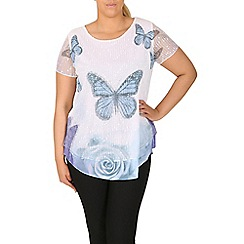 Samya - Blue butterfly contrast hem top