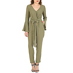 Oeuvre - Khaki beige crossover bell sleeved jumpsuit