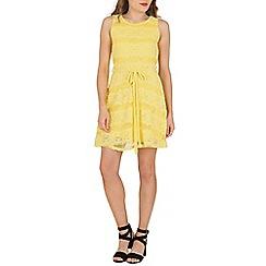 Mela - Yellow lace panel skater dress