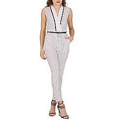 Oeuvre - Black stripy jumpsuit with waist belt