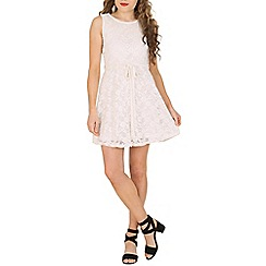 Mela - White lace belted dress