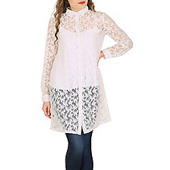 Mela - White lace shirt dress