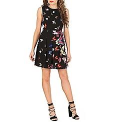 Mela - Black butterfly pleated skater dress