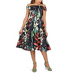 Jolie Moi - Pink 3d floral print bardot dress