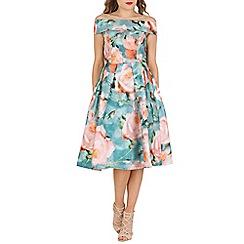 Jolie Moi - Green off shoulder 3d print dress
