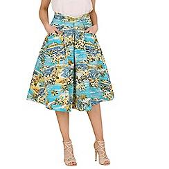 Jolie Moi - Blue floral print 50s a-line skirt