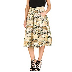 Jolie Moi - Brown floral print 50s a-line skirt