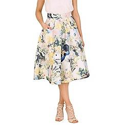 Jolie Moi - Cream 3d floral print skirt