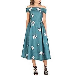 Jolie Moi - Turquoise 3d print bardot midi prom dress