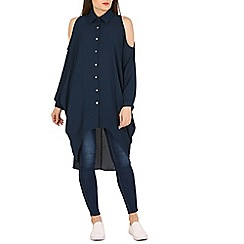 Pussycat London - Navy open shoulders lonline blouse
