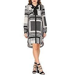 Izabel London - Black monochrome shirt  dress