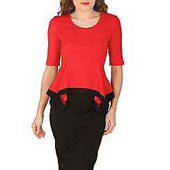 Izabel London - Red lace peplum top