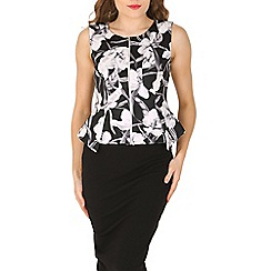 Izabel London - Black floral print zip peplum top