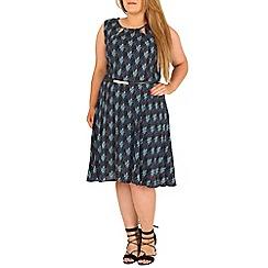 Samya - Blue belted leaf printed dress