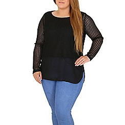Samya - Black plus size layered top