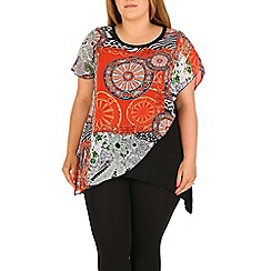 Samya - Red plus size eastern print  top