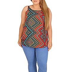 Samya - Red plus size aztec print top