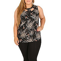 Samya - Black plus size floral and bird print top