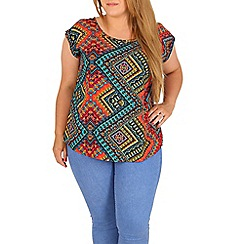 Samya - Multicoloured plus size aztec print top