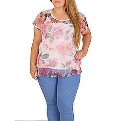 Samya - Pink floral sequin embellished top