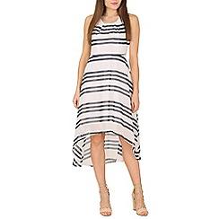 Cutie - Navy striped asymmetric hem dress