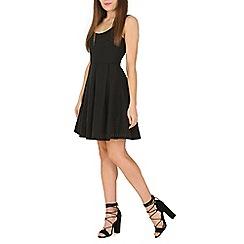 Cutie - Black textured pleated dress