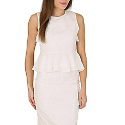 Cutie - White shoulder panel peplum top