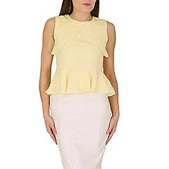 Cutie - Yellow shoulder panel peplum top