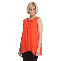 Roman Originals - Orange crossover beaded neck vest