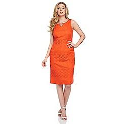 Roman Originals - Orange embroidered cotton dress