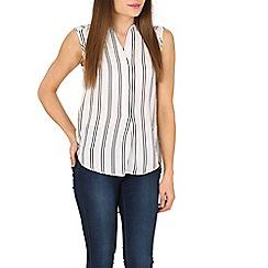 Tenki - White v-neck stripy top